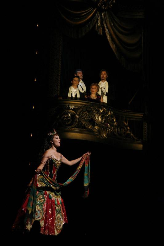 Oopperalaulaja laulaa hienossa mekossa, yleisö pervella kuuntelee.
