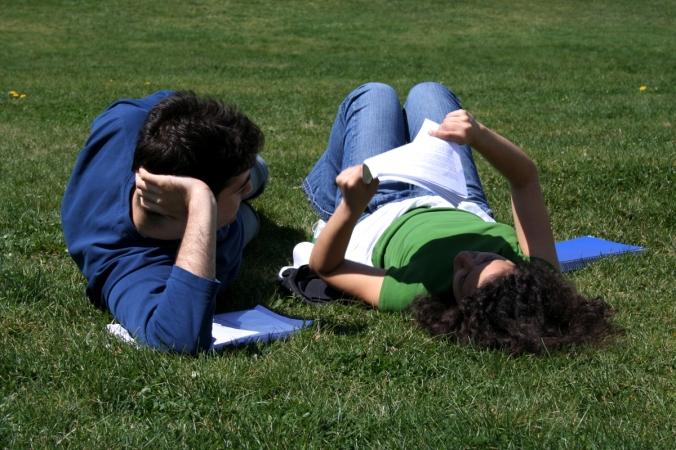 Kuvituskuva. Kaksi nuorta lukemassa kesäisellä nurmikolla.