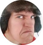 Kuva kirjoittajasta naama rutussa