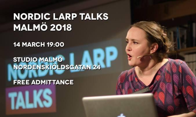 Kuvassa Johanna Koljonen ja Nordic Larp Talks tapahtuman mainosteksti.