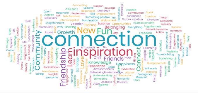 Sanapilven näkyvimpiä sanoja ovat connection, inspiration, ne, fun, learning, community ja friendship