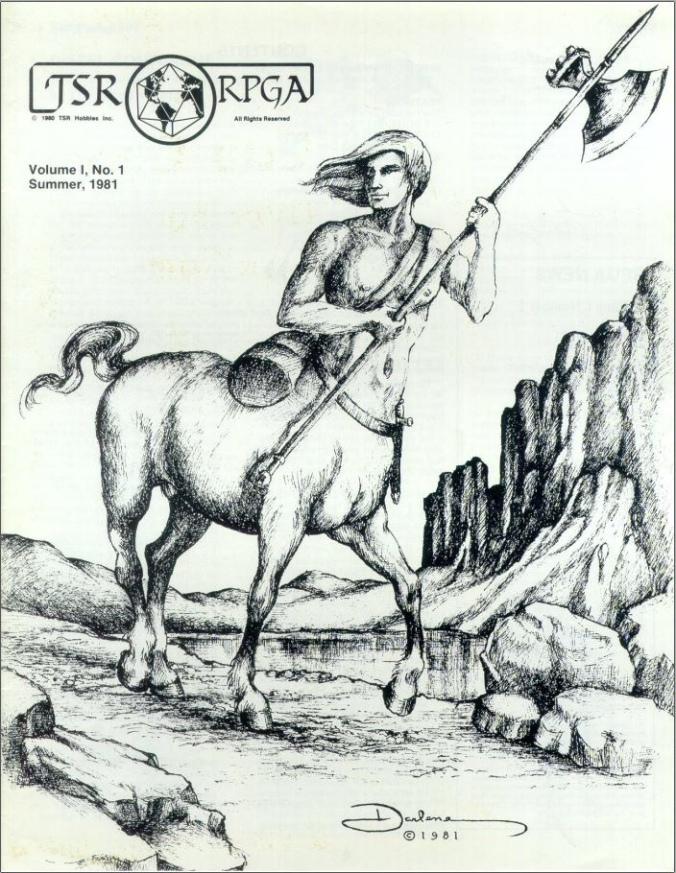 Kuvassa TSR RPGA piirros/kansi, jossa kentauri kantaa kirvestä.