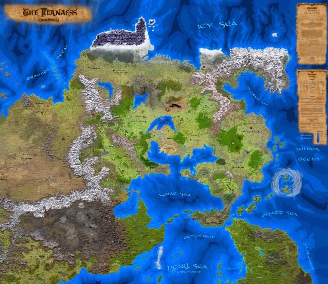 Kuvassa kartta Flanaessista