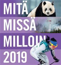 Mitä Missä Milloin 2019 kirjan kansi, kannessa panda, metsäpalon sammutushelikopteri ja naishiihtäjä.