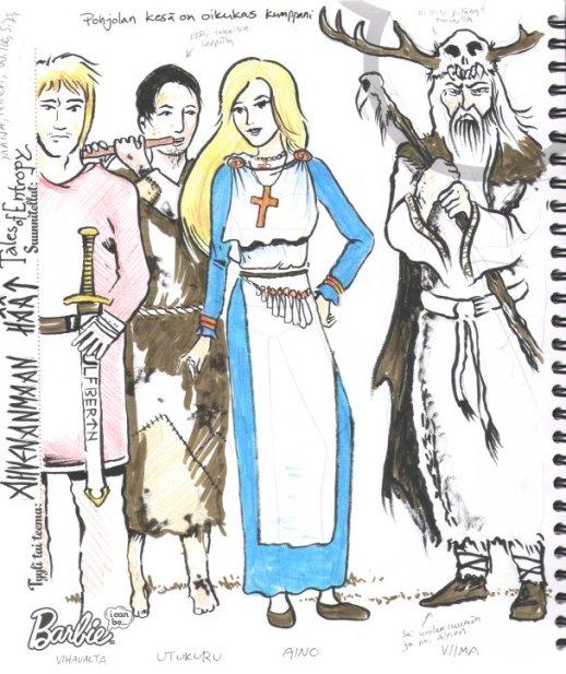 Entropy, Ahvenanmaan häät. Kalevalaisesti pukeutuneita hahmoja.
