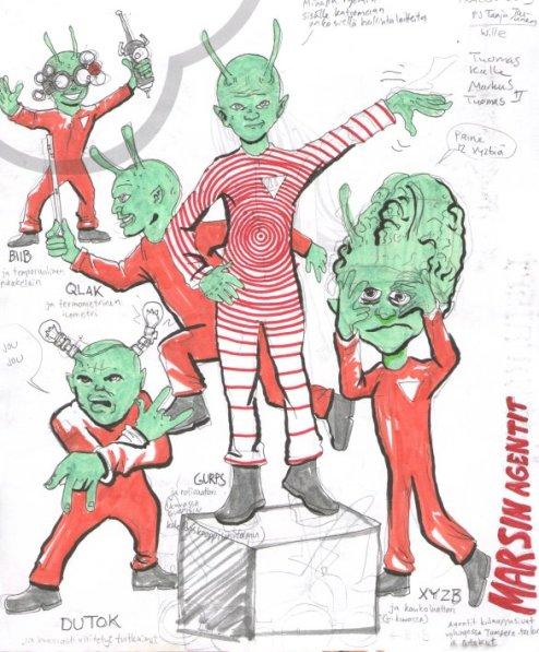 Mars. Kuva vihreistä marsilaisista.