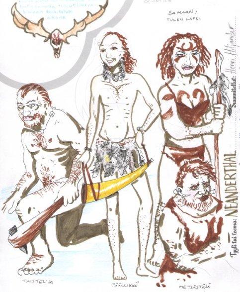 Neanderthal. Kuva hahmoista kivikautisissa asuissa.