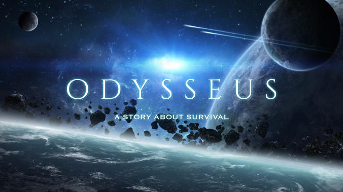 """Kuvassa avaruus, lähimpänä planeettana Maa. Kuvassa teksti """"Odysseus, a story about survival."""""""