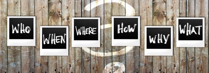 Kuvassa polaroid-kuvia, joissa on kysymykset who, when, where, how, why, what