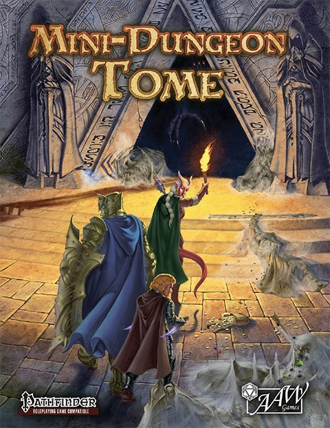 Kuvituskuvana kirjan kansi, jossa teksti MINI-DUNGEON TOME ja  fantasia-seikkailijoiden porukka on matkalla soihdun kanssa luolaholvissa kohti pimeyttä.