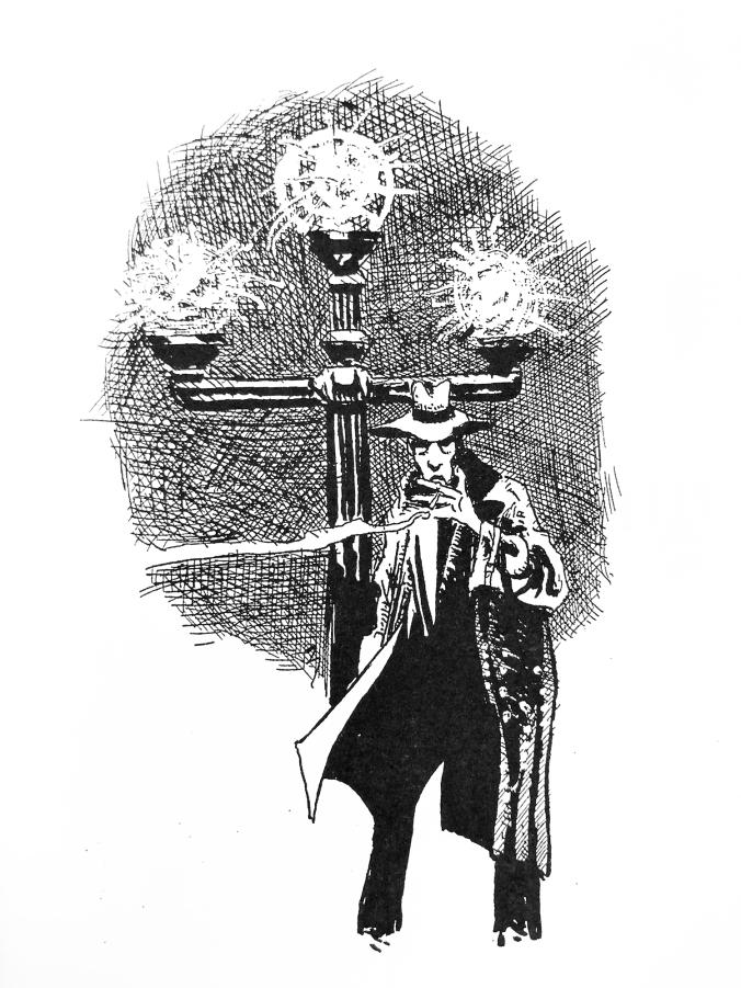 piirros stereotyyppisestä 20-luvun etsivästä katulanmpun edessä. Hän pollttaa tupakkaa, lierihattu ja pitkä takki. Luihin näköinen.