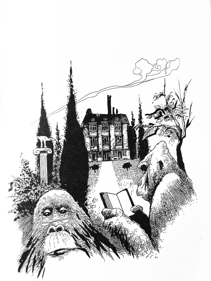 kuvassa piirros kahdesta gorillasta, joista toinen lukee kirjaa, taustalla 20-henkinen rakennus ja puutarha