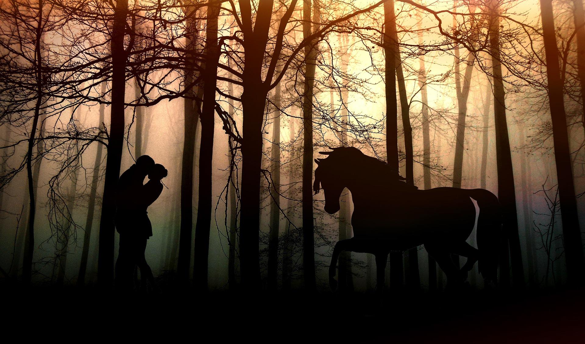 aamuhärmäinen metsä, rakastuneen syleilevän parin silhuetti sekä kauniin hevosen silhuetti