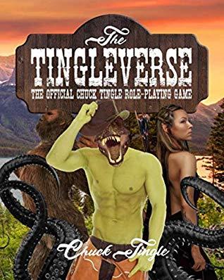 The Tingleverse -kirjan kansi, jossa joukko fantasiahahmoja, kuten vihreä miesvartalo raptorin päällä
