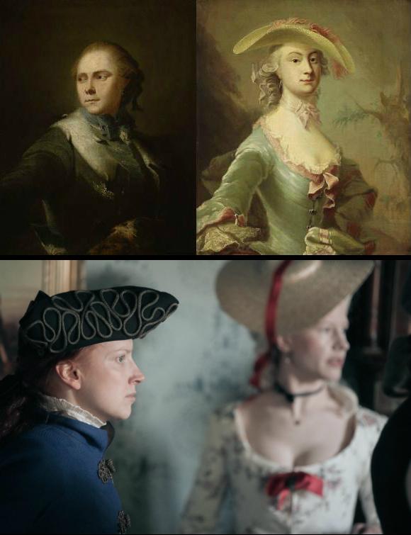 Yläkuvassa kaksi 1700-luvun maalausta, mies ja nainen, alla kaksi pelaajaa rokokoo-asuissaan, jotka vastaavat yllä olevien kuvien asuja.
