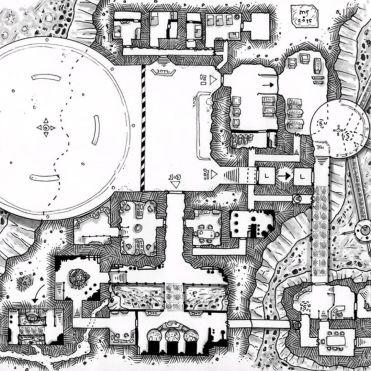 Mustavalkoinen karttapiirros. (c) Miska Fredman