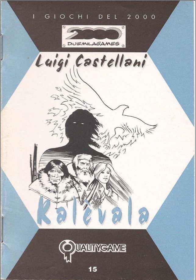 kuvassa pelin kansilehti: I GIOCHI DEL 2000, DUEMILAGAMES, Luigi Castellani, Kalevala, Qualitygame, kansikuvassa kalevalaisia hahmoja ja lintu, joka näyttää ihan fenikslinnulta, mutta on ehkä kotka