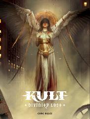 Kuvassa pelin kansi: siinä lukee goottilaisella fontilla KULT Divinity lost, kuvassa enkeli, jonka siivet ovat levitettynä, mutta sidottuna ketjuilla kiinni kuvan ulkopuolella oleviin objekteihin,. Taustalla kerrostalo.