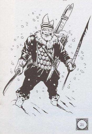 Kuvassa on lumessa tarpova fantasiahenkilö, jolla on sukset selässä, jonkinlainen atrainkeihäs kädessään ja toisessa kädessä jousi. Hattu on kovin eriskummallinen rikkoutuneen kananmunanmuotoinen vekotin.
