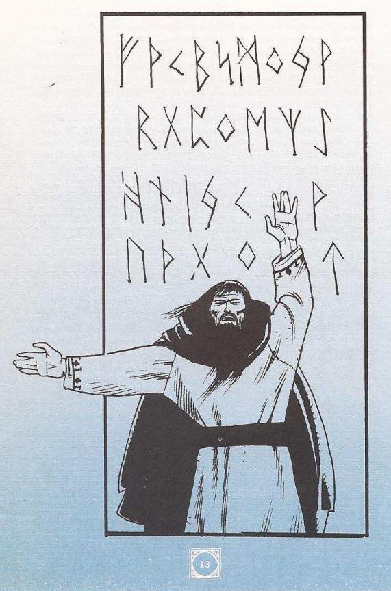 Kuvassa kirjan kuvitusta, jossa on riimuja taustalla ja ehkä Väinämöinen huitomassa riimujen edessä.