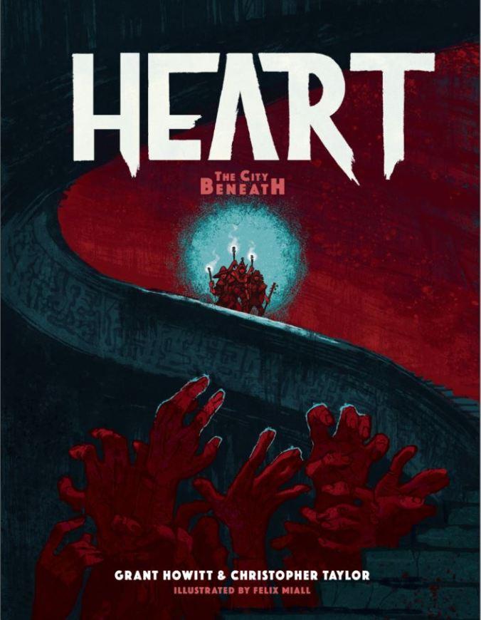 Kannessa lukee isolla valkoisella tekstillä heart, punaisen taivaan edessä kiemurtelevat mustat posrtaat johtavat ylös (ehkä taivaisiin), punaisten käsien joukko kurkottelee kohti taivasta, taka-alalla portaiden puolivälissä on joukko, jolla on käsissään soihtuja.
