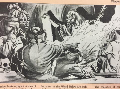 Kuvassa Tolkien kuvitusta, nenää kaivavia örkkejä tulen ympärillä.