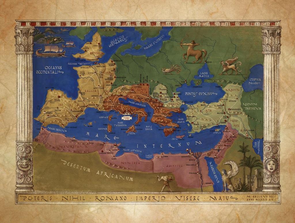 kuvassa antiikin Rooman kartta