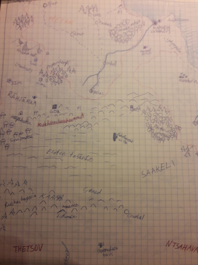 kuvassa ruutupaperille piirretty yksityiskohtainen kartta