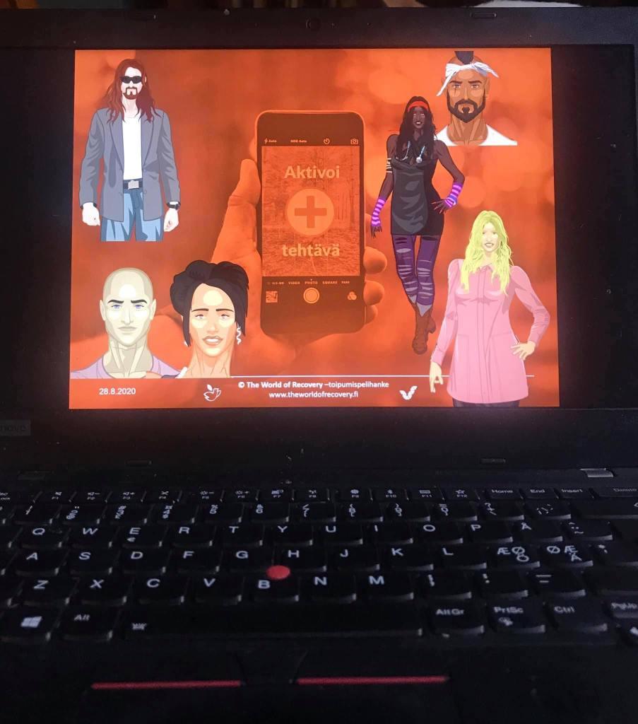 Kuvassa läppärin ruutu, alhaalla näkyy näppäimistö. Ruudulla konseptikuvia hahmoista ja älypuhelimen ruudusta.
