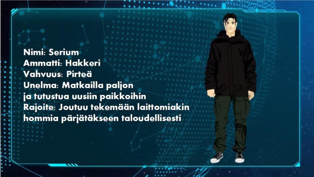 Kuvassa on Serium hahmon esittelyruutu, joka kertoo hänen olevan pirteä hakkeri, ja unelmansa olevan matkailla paljon ja tutustua uusiin paikkoihin. Rajoitteeksi on laitettu, että Serium joutuu tekemään laittomiakin hommia pärjätäkseen taloudellisesti. Myös piirroskuva huppariin pukeutuneesta hahmosta.