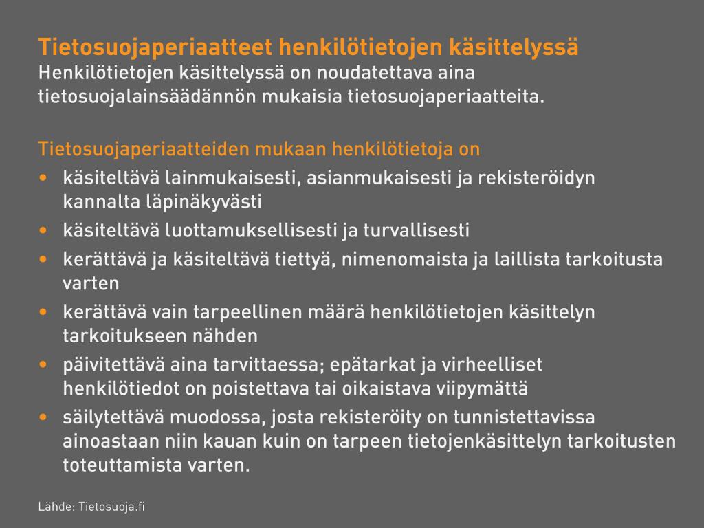 Luettelo: Tietosuojaperiaatteet henkilötietojen käsittelyssä.