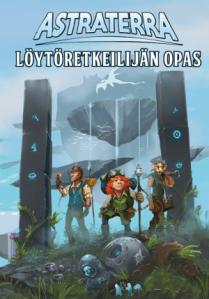 Astraterran kansi. Kelluvia saaria ja seikkailijajoukko tulossa avaruusportin läpi.