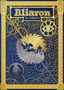 Bliaronin 2. version kansi. Sinista ja kultaa, keskellä tyylirlty pöllö ja lohikäärme ympytän muodossa.