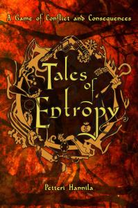Tales of Entropyn kansi. Teksti isolla, sen ympärillä pikkukuvia, kuten rahapussi ja erilaisia käsiä.