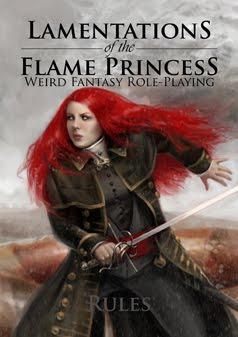 Lamentations of the Flame Princess -pelin kansi. Nainen, jolla on hehkuvan punainen tukka ja miekka. Hän on pukeutunut pitkään nahkatakkiin.