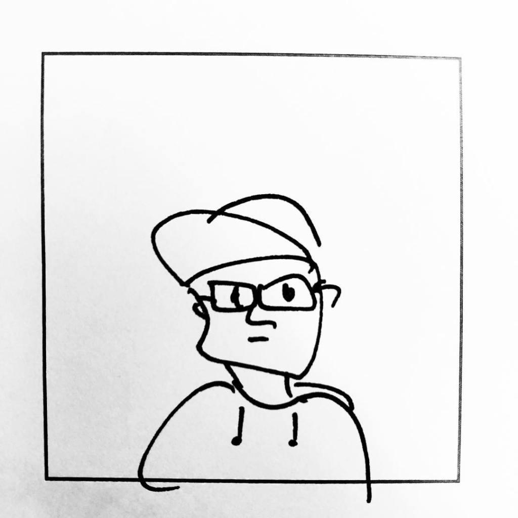 Miikkulaisen omakuva, lyijykynä karikatyyri