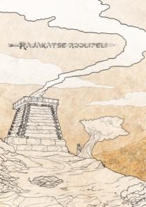 Rajaktse -roolipelin kansi. Ruskean sävyjä. Hirsistä tehty torni, jonka katolta purkautuu savua. Tornin vieressä on yksittäinen puu, jonka vieressä seisoo mies.