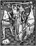 Mustavalkoinen kuva: kaksi ritaria miekkailemassa.