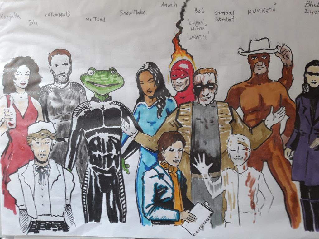 Supersankarit poseeraamassa. Mukana Karjatta, Jake, Katkarapu13, Mr Toad, Snowflake, Anush, Bob, Leipuri Hiiva, Wrath, Combat Wombat, Kumisetä ja Black Eye.