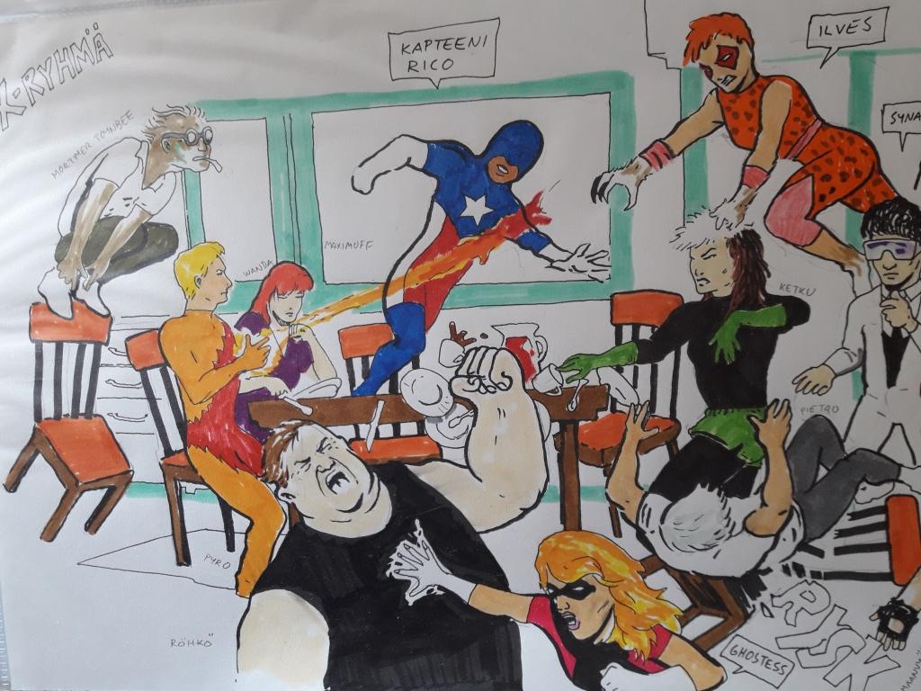 Joukko supersankareita taistelemassa pahiksia vastaan. Mukana Mortimer Toynbee, Wanda, Maximuff, Kapteeni Rico, Röhkö, Ilves, Ketku, Ghostess ja Pietro.